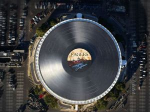 The Forum's roof has been transformed into a very familiar album cover